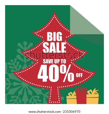 Christmas Sale, X'Mas Sale, Green Big Sale Save Up To 40% Off on Christmas Tree Tag, Sticker or Label Isolated on White Background - stock photo