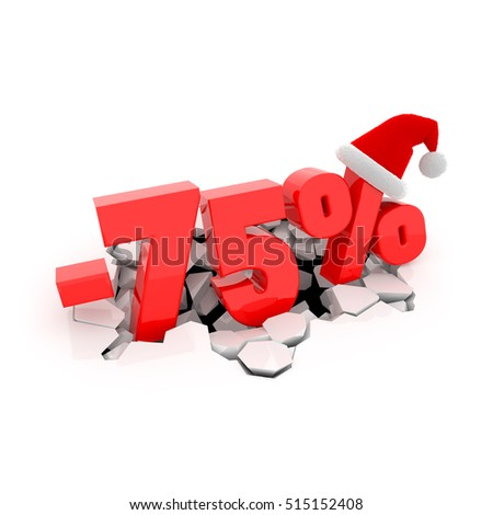 Christmas sales design template with 75% off. 75 percent discount price with Santa Claus hat on cracked white surface. 3D xmas illustration.