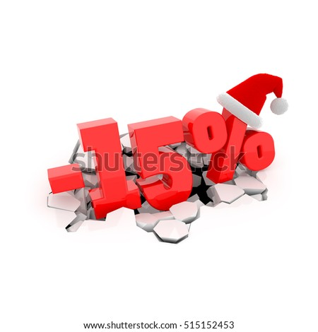 Christmas sales design template with 15% off. 15 percent discount price with Santa Claus hat on cracked white surface. 3D xmas illustration.