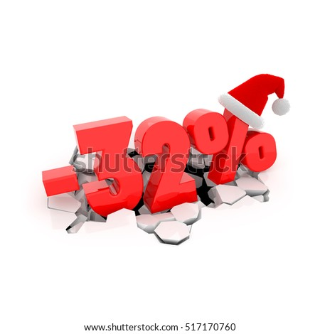 Christmas sales design template with 32% off. 32 percent discount price with Santa Claus hat on cracked white surface. 3D xmas illustration.
