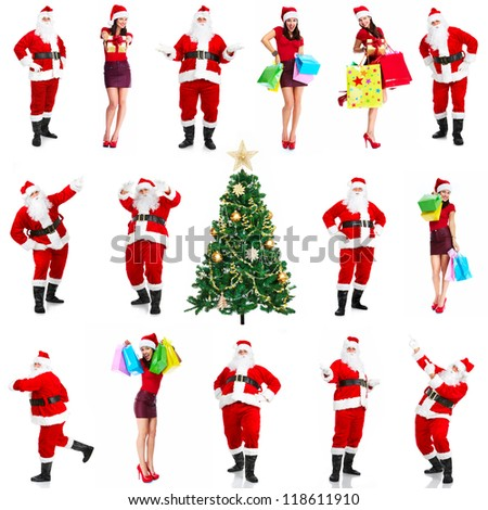 Christmas santa claus and woman with shopping bags isolated on white background. - stock photo