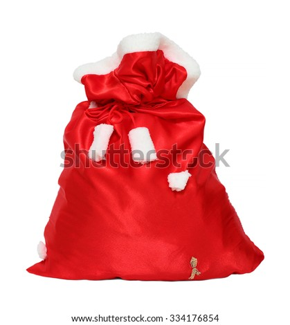 christmas santa claus red bag isolated on white
