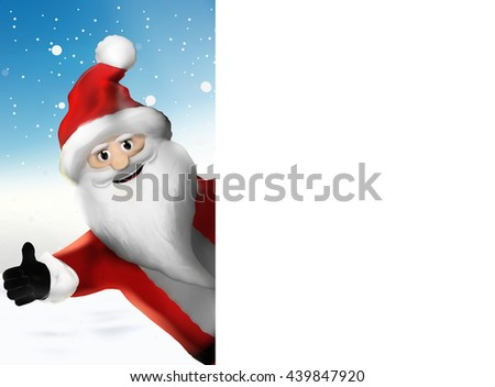 Christmas Santa Claus thumbs up 3d illustration