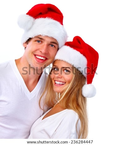 Christmas Santa couple isolated over white background