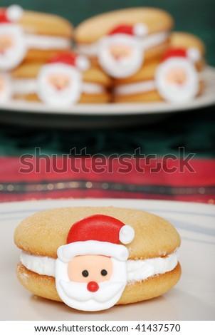 Christmas Santa Face Cookies - stock photo