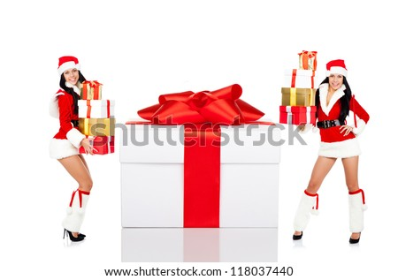 Christmas Santa girl with big gift box present, full length portrait isolated on white background, concept of happy new year, winter holiday sale - stock photo