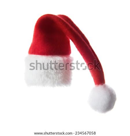Christmas santa hat,  isolated on white background - stock photo