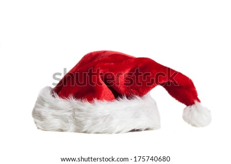 Christmas (Santa) hat on white background.