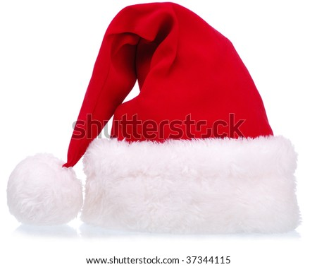 Christmas - Santa Hat on White Background - stock photo