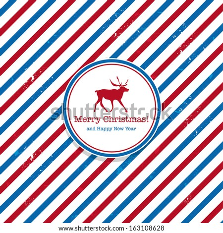 Christmas Santa post red and blue deer mail background - stock photo