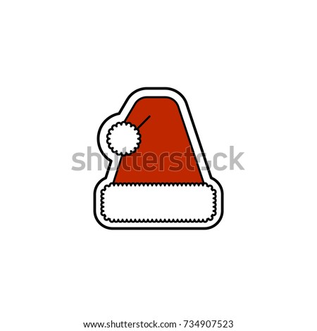 Christmas Santa's hat icon. Christmas and New Year celebration topic.