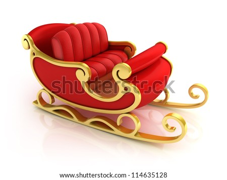 Christmas Santa sleigh - red and golden sledge isolated - stock photo
