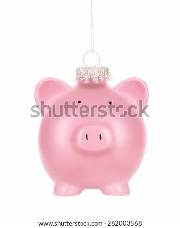 Christmas savings - Piggy Bank Christmas ornament on White Background - stock photo