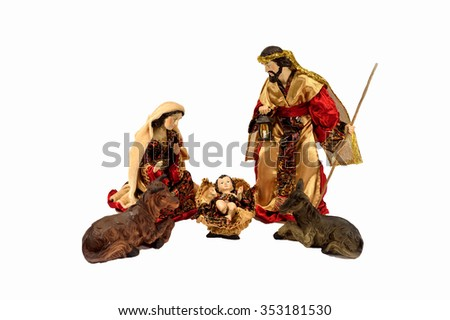 Christmas scene . Baby Jesus, Mary, Joseph on light white  background. - stock photo