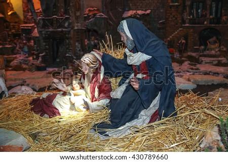 Christmas scene; Jesus Christ, Mary and Josef  - stock photo