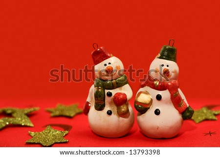 Christmas scene with decorated snowmen