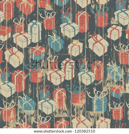 Christmas seamless background with gifts pattern. Raster version, vector file available in portfolio. - stock photo