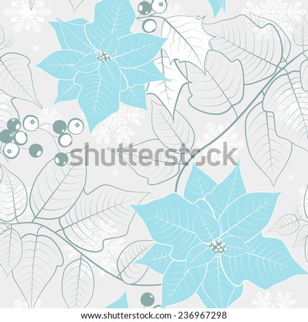 Christmas seamless background with poinsettias.  - stock photo