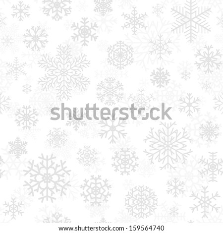 Christmas seamless pattern from gray snowflakes on white background. Raster version. - stock photo