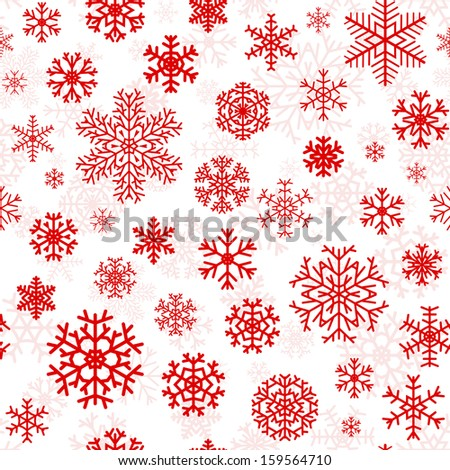 Christmas seamless pattern from red snowflakes on white background. Raster version. - stock photo