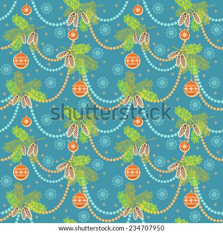 Christmas seamless pattern. New year's blue background with branches of fir, decoration, snowflakes. Festive ornamental illustration for print, web - stock photo