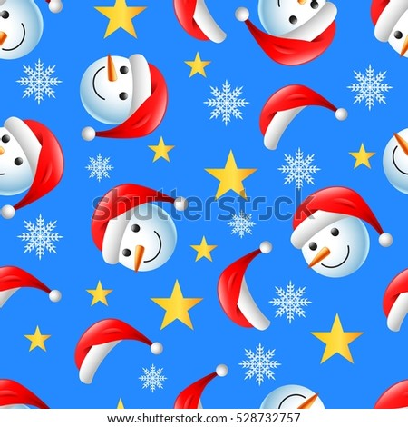 Christmas seamless pattern with happy snowman and flakes on blue background.