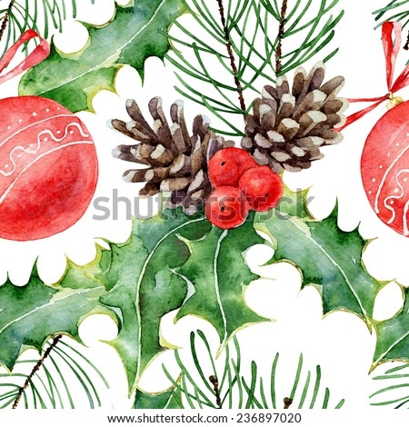 Christmas seamless pattern with red balls, fir branches and holly leaves. Watercolor illustration - stock photo