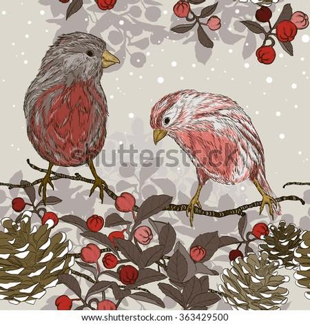 Christmas seamless pattern with winter birds. Raster version  - stock photo