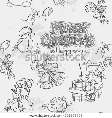 Christmas seamless texture with a snowman, Bullfinch and gifts. Black contour.