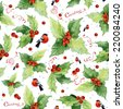 Christmas seamless watercolor background with holly berries and bullfinches on white background. - stock vector