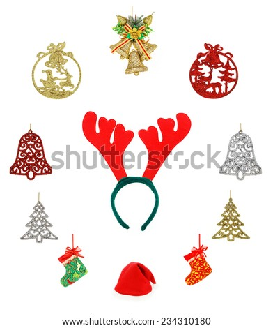 Christmas set & Accessories. isolated on white background, socks star santa hat  pine   bow  and bell - stock photo