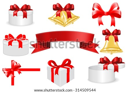 Christmas set. Gift box, red ribbon, bow, Jingle bells. Raster version. Illustration isolated on white background - stock photo
