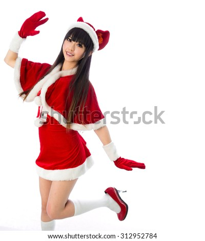 Christmas sexy cat girl Sexy mrs. Santa Claus isolated