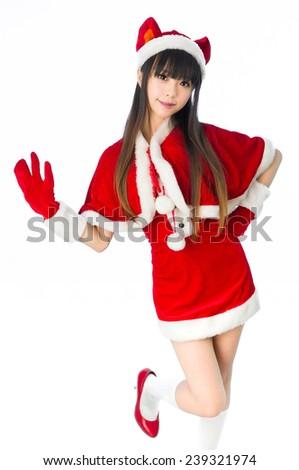 Christmas sexy cat girl Sexy mrs. Santa Claus  isolated moe - stock photo