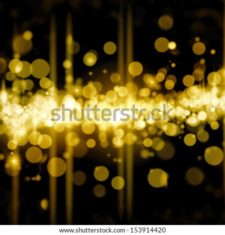 Christmas shiny background with lights and copy space in golden yellow  colors - stock photo