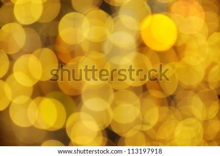 Christmas shiny bokeh in yellow golden  colors - stock photo