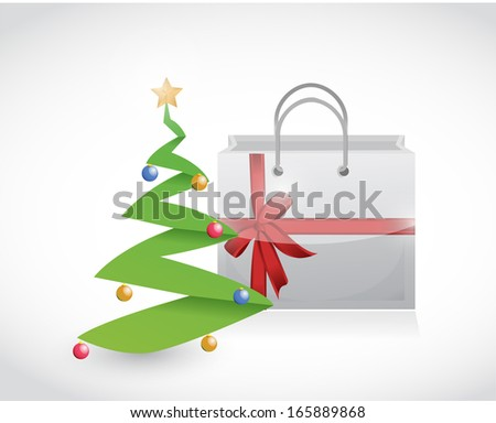 christmas shopping and tree illustration design over a white background