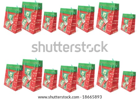 Christmas Shopping Bags with Copy Space - stock photo