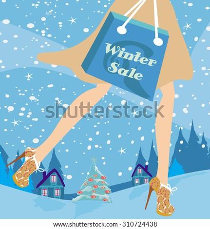 Christmas shopping - winter sale card  - stock photo