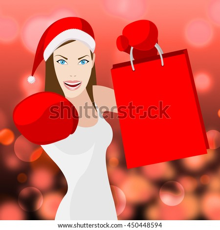 Christmas Shopping Woman Meaning Retail Sales And Merchandiser - stock photo