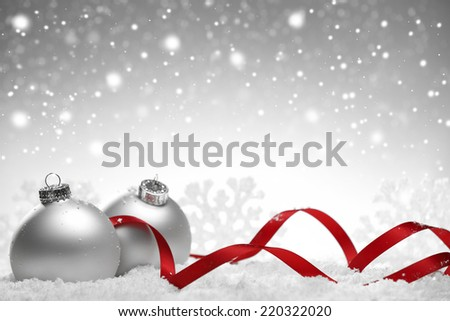 Christmas silver background with balls and ribbons - stock photo