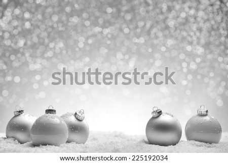 Christmas silver background with balls and snowflake - stock photo