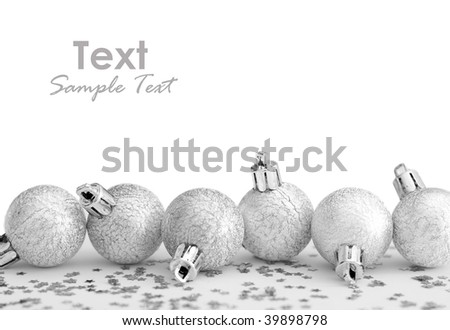 christmas silver baubles isolated - stock photo