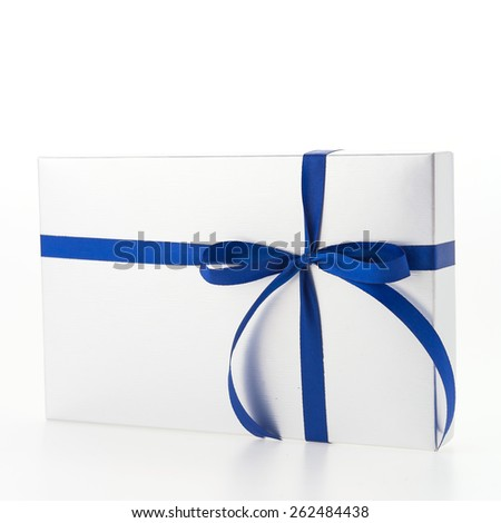 Christmas Silver Gift box isolated on white background - stock photo