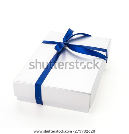 Christmas Silver Gift box isolated on white background