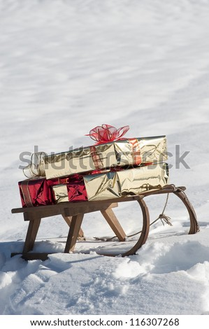 Christmas sled on the snow - stock photo