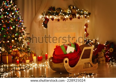 Christmas Sleigh With Bag, Sledge Sack Full Of Letters, Xmas Kids Mails, Wishes List Delivery To Santa Claus For Present Gifts Toys - stock photo