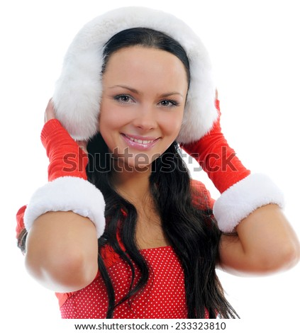 Christmas smiling woman in red santa cap. isolated on a white background - stock photo