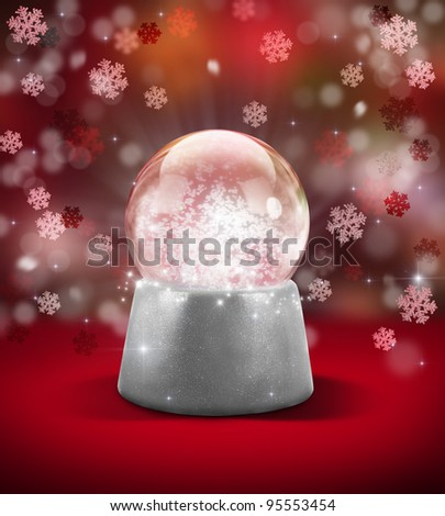 Christmas snow ball with snowflakes