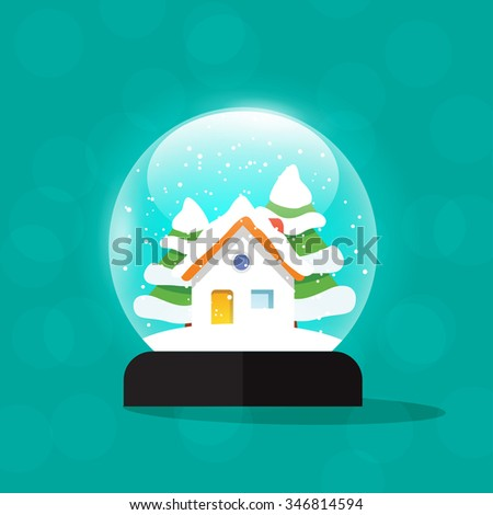 Christmas snow globe house illustration, snowglobe home snowdrift, snowfall isolated, merry snow globes with fir trees, new year tree and gift, flat modern design. Stock image. - stock photo